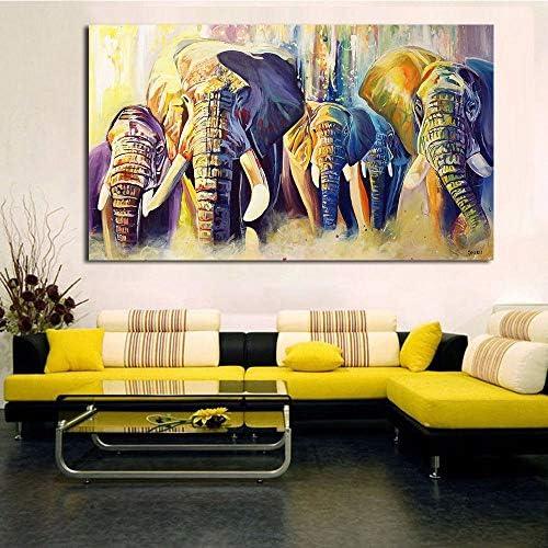 ホームデコレーション油絵象のグループの壁の写真のリビングルームの絵画キャンバス50x80cmなしフレーム