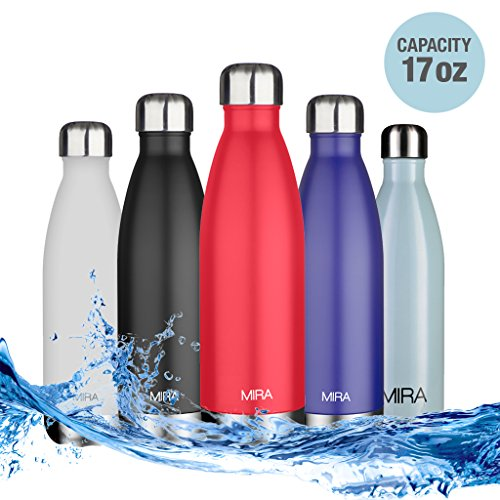 MIRA 17 Oz Stainless Steel Vacuum Insulated Water Bottle | Leak-proof Double Walled Cola Shape Bottle | Keeps Drinks Cold for 24 hours & Hot for 12 hours | 17 Oz (500 ml) | Red