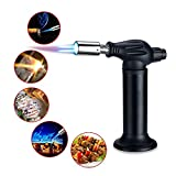 Zahara Kitchen Torch Butane Culinary Torch with Double Flame,Adjustable Blow Torch Lighter Refillable Chef Cooking Torch with Safety Lock for DIY, Soldering, Crème Brulee, BBQ and Baking (Black)