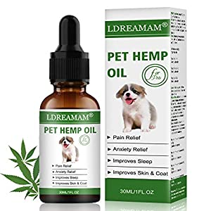 LDREAMAM Hemp Oil for Dogs Cats, Pets Hemp Oil for Pain Relief,Separation Anxiety Relief, Hips Pain, Pet Recovery, Sleep…