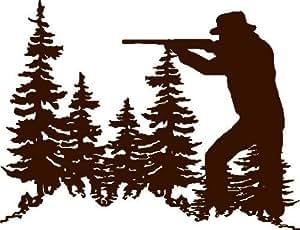 Amazon Com Animal Hunter With Gun Outdoor Tree Scene With