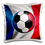 3dRose pc_155051_1 France Soccer Ball Concept French Flag Banner Waving National Country Pillow Case, 16'' x 16''
