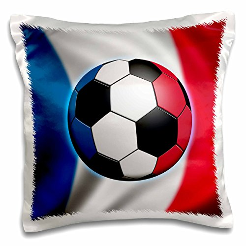 3dRose pc_155051_1 France Soccer Ball Concept French Flag Banner Waving National Country Pillow Case, 16'' x 16'' by 3dRose