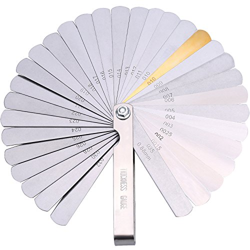 Hotop Stainless Steel Feeler Gauge Dual Marked Metric and Imperial Gap Measuring Tool (0.04-0.88 mm, 32 Blades)