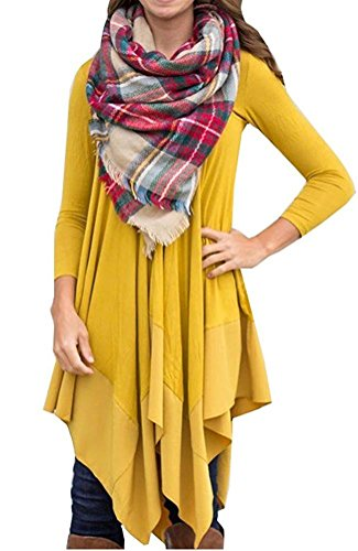 Yellow Tunic Shirt (Wearlove Womens Asymmetrical Big Hem Causal Long Sleeve Tunic T-shirt Dress Yellow)
