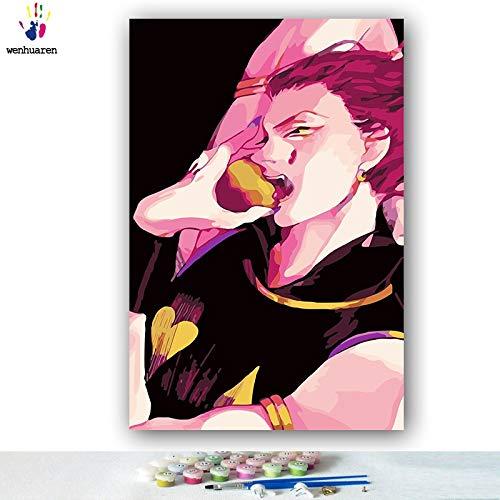 KYKDY KYKDY KYKDY DIY Färbungen Bilder nach Zahlen mit Farben Vollzeit Jäger japanische Manga-Bild Zeichnung Malen nach Zahlen gerahmt, 0382,60x75 kein Rahmen B07MYV128J | Maßstab ist der Grundstein, Qualität ist Säulenbalken, Preis ist Leiter  782a37