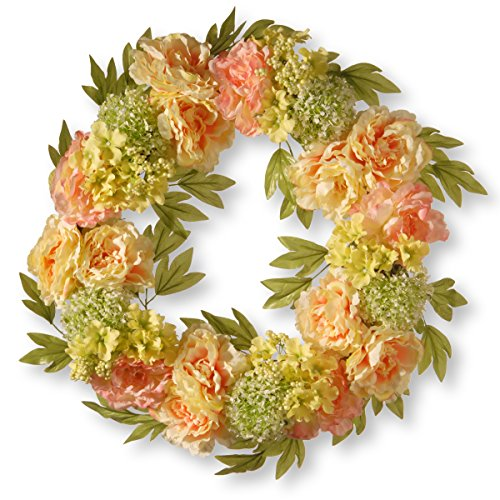 National Tree 24 Inch Cream Wreath with Peonies, Pink Flowers and Berries (RAS-15548W24C ) ()