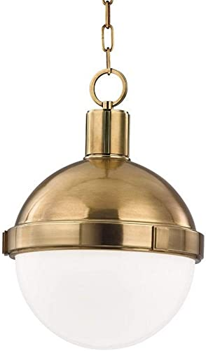 Hudson Valley Lighting 609-AGB Lambert – One Light Pendant, Aged Brass Finish with Clear White Glass