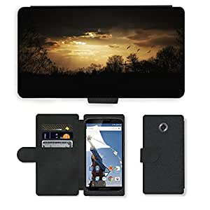 PU LEATHER case coque housse smartphone Flip bag Cover protection // M00421568 Humor de la tarde Cielo Crepúsculo // Motorola Google Nexus 6