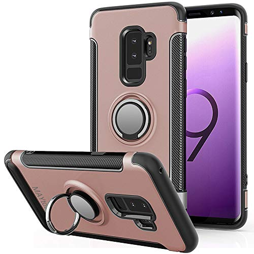 MAYtobe Galaxy S9 Plus Case - Bumper Cover case for Samsung Galaxy S9 Plus Case PC with TPU Shock-Absorption 360 Rotating Heavy Duty Anti-Fingerprint Anti-Scratch - Rose Gold