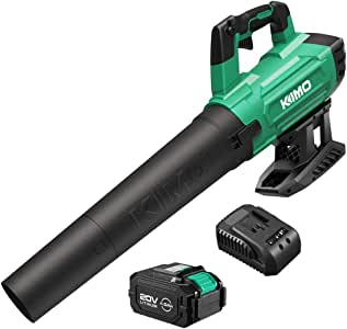 KIMO Cordless Leaf Blower, 20V 400CFM Handheld Cordless Blower Sweeper 4.0Ah Battery, Variable Speed for Sweeping Snow/Blowing Leaf/Lighting Fire/Clearing Dust & Hard-to-Clean Corner/Garden/Patio/Lawn