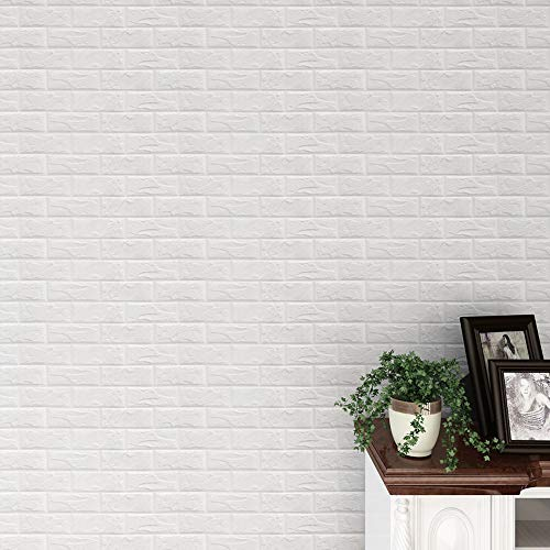EOWEO Removable Wall Stickers,New PE Foam 3D Wallpaper DIY Wall Stickers Wall Decor Embossed Brick Stone White(60300.8cm,White) ()