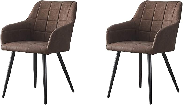 Ofcasa Dining Chairs Set Of 2 Faux Leather Dining Chair With Metal Legs Armrest Office Chair Cantilever Armchair Living Room Office Hotel Restaurant Chair Furniture 2 Brown Chairs Home Kitchen Furniture