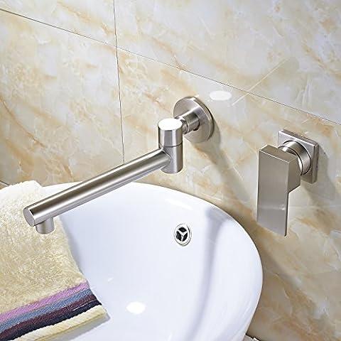 Rozin Single Handle Swivel Spout Bathroom Sink Faucet Wall Mount 2 Holes Vanity Mixing Tap Brushed - Wall Mount Widespread Sink
