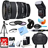 Canon (9518A002) EF-S 10-22mm F/3.5-4.5 USM Lens w/ Ultimate Accessory Bundle includes Lens, 64GB SDXC Memory Card, Flash, Flash Cover, Tripod, 77mm Filter Kit, Lens Hood, Bag, Cleaning Kit, & More