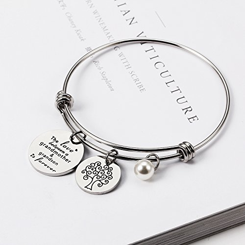 Meibai Grandmother Bracelet Stainless Steel Message Cuff Bangle Personalized Gift for Mother Nana (The Love Between Grandmother and Grandson is Forever) by Meibai (Image #2)