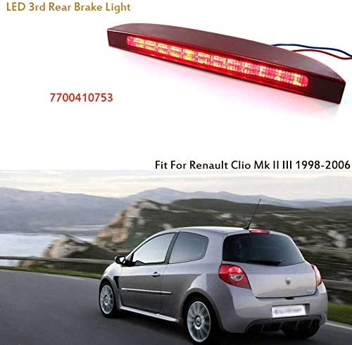 luz de freno de alto montaje luz de freno trasera de alto montaje 7700410753 Se adapta a Renault Clio MK2 1998-2006 y Campus 2006-2012 Luz de freno trasera de alto montaje