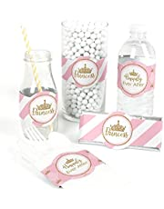 Little Princess Crown - DIY Party Supplies - Pink and Gold Princess Baby Shower or Birthday Party DIY Wrapper Favors & Decorations - Set of 15