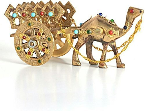 The Hue Cottage Camel Cart Showpiece Rajasthani Handcrafted Interior Decor Brass Animal Figurine Gift Items India