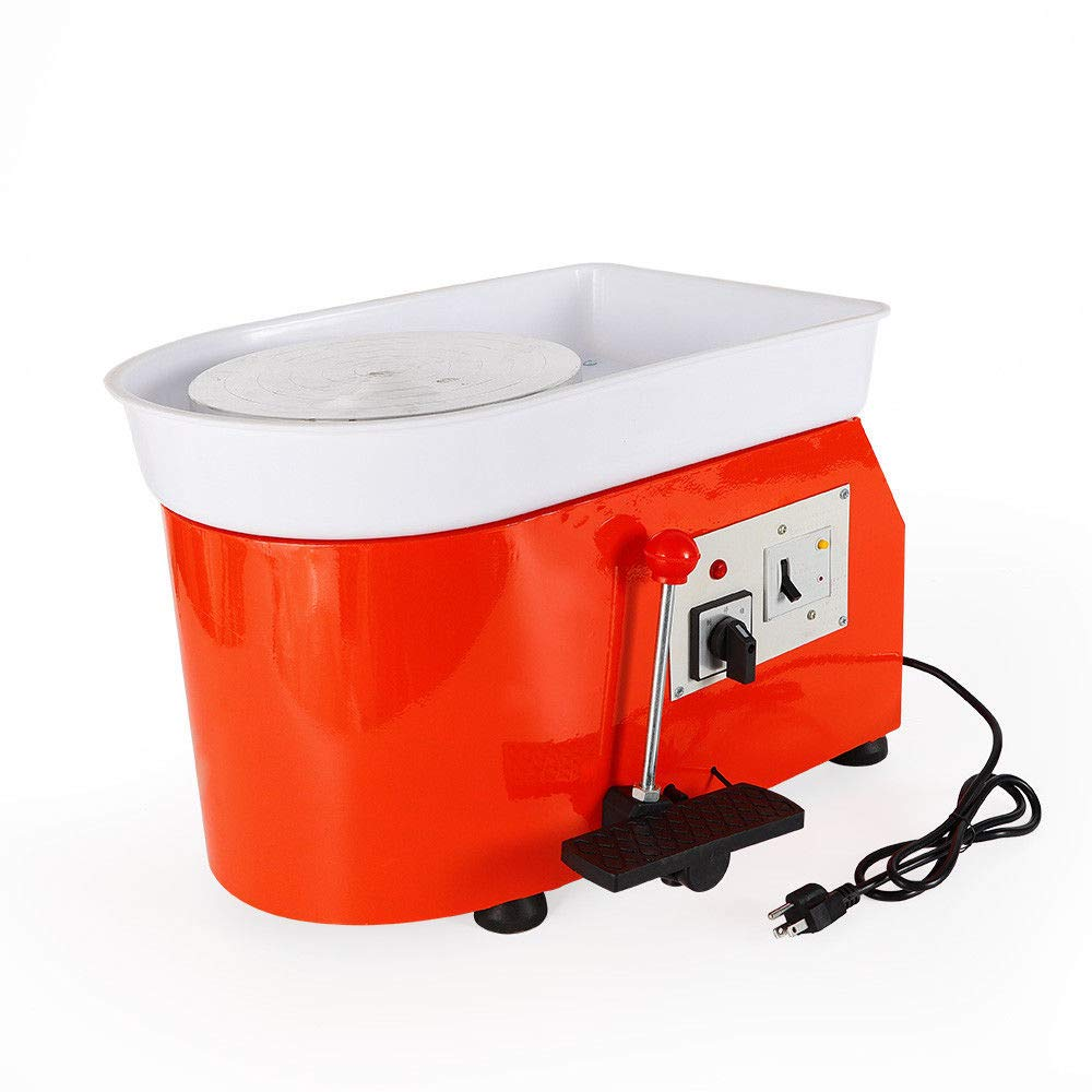 350W 25CM Electric Pottery Wheel Machine for Ceramic Work Clay Art Craft (Orange)