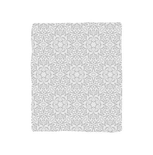 VROSELV Custom Blanket Grey Collection Antique Floral Motifs Arabian Islamic Art Patterns in Mod Graphic Design Oriental Boho Chic Deco Soft Fleece Throw Blanket Gray by VROSELV