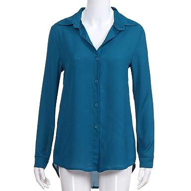 Camiseta de Manga Larga Mujer ,riou Color sólido para Mujer Camisa con Solapa y Cuello en V Camisa Casual Elegantes Oficina Básica T Shirt Blusa Verano: ...
