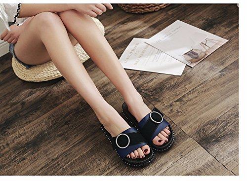 semi LIUXINDA fashion beach flat slippers cool bottomed Slippers wear Summer XZ tide shoes blue summer buttons women's 6qxY6F4wr