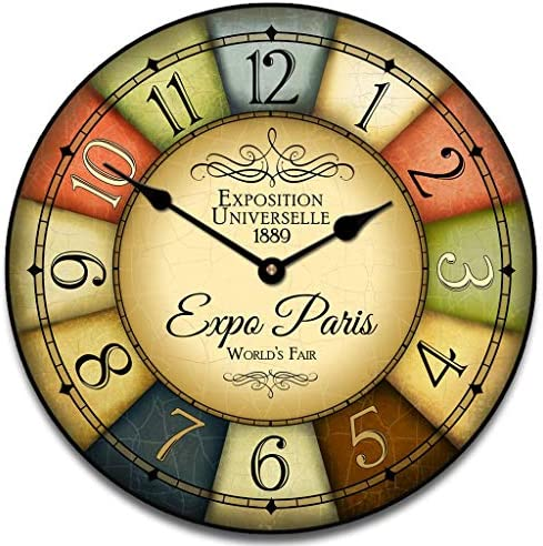 1889 Paris World s Fair Wall Clock, Available in 8 Sizes, Most Sizes Ship 2-3 Days, Whisper Quiet.