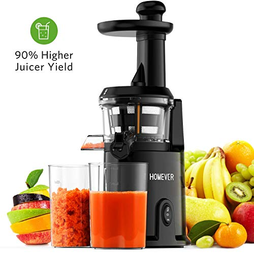 Juicer Machines, Homever Slow Masticating Juicer Extractor for Juicer Fresher, Cold Press Juicer for All Fruit and Vegetable, BPA-Free, Quiet Motor and Reverse Function with Juice Jug & Brush, Black