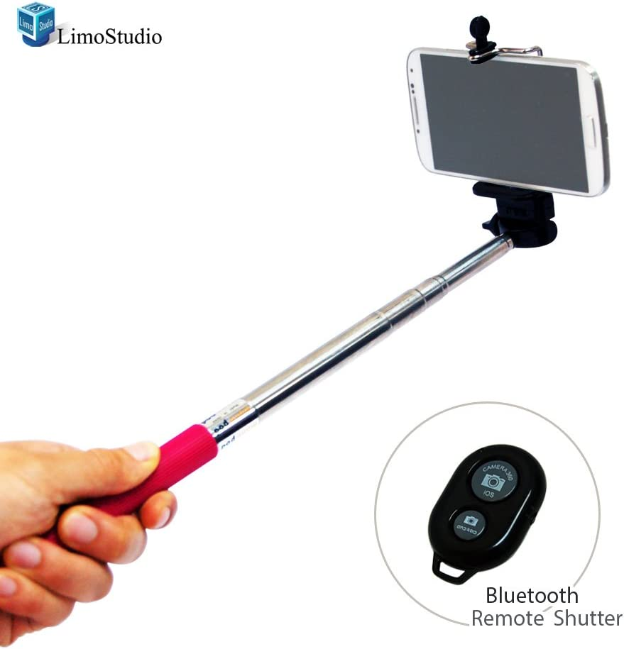 LimoStudio Selfie Stick Portrait Camera Monopod Extendable Cell-phone Tripod with Bluetooth Remote Shutter AGG1429