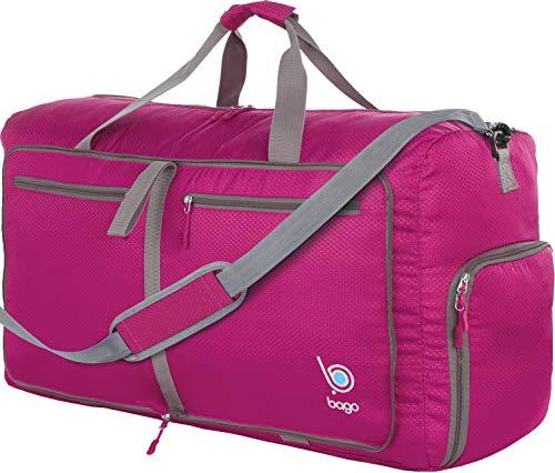 """Bago 60L Packable Duffle bag for women & men - 23"""" Foldable Travel Duffel bag (Pink)"""