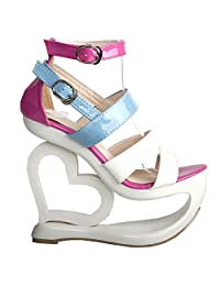 Show Story Fashion White Pink Blue Strappy Heart Heel Wedge Wedding Sandals,LF40203