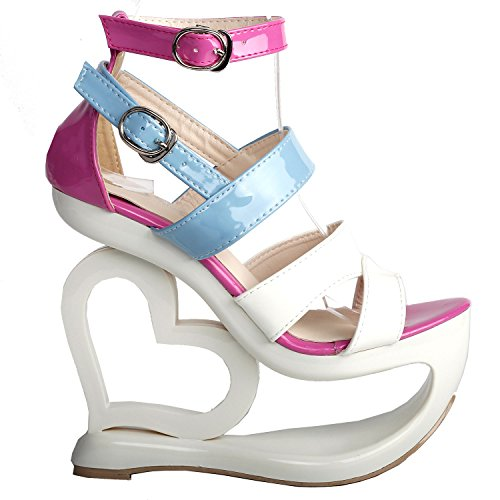 SHOW STORY Fashion White Pink Blue Ankle Strap High Heel Platform Party (Pink White Sandals)