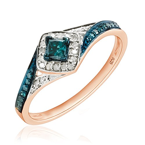 Prism Jewel 0.50Ct Princess & Round Shaped Blue Diamond & Diamond Engagement Ring, 10k Rose Gold
