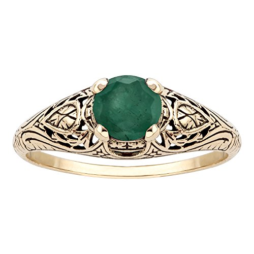 10k Yellow Gold Vintage Style Genuine Round Emerald Scroll Ring - 10k Gold Scroll Ring