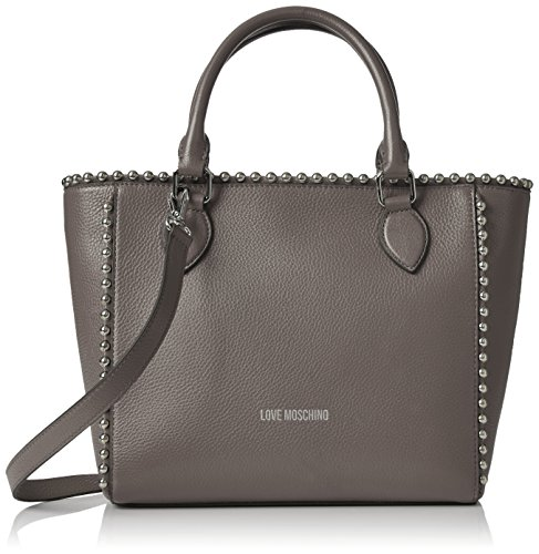 Love Moschino Borsa Vitello Pebble Grigio, Shoppers y bolsos de hombro Mujer, Gris (Grey), 9x25x36 cm (B x H T)