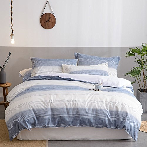 Merryfeel Cotton Duvet Cover Set, 100% Cotton Yarn Dyed Stripe Duvet Cover with 2 Pillowshams,3 Pieces Bedding Set- Full/Queen Blue Striped Duvet Cover