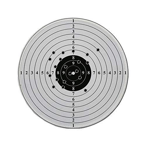 d Mouse Pad,Black and White,Target Numbers and Bullet Holes Shooting Polygon Gun Training Illustration,Black White,11.8