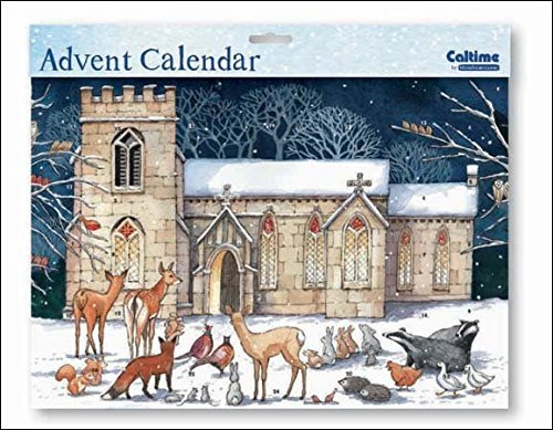 Landscape Advent Calendar (WDM0425) Caltime - Church In Snow - Glitter Varnished Woodmansterne