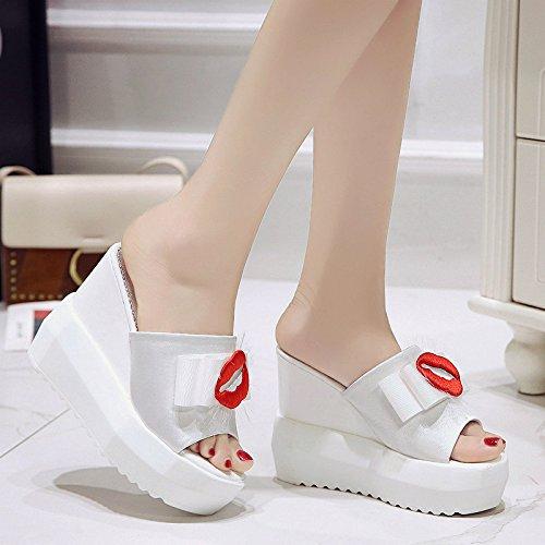 Moda Inclinadas WHLShoes Flip Damas y Zapatillas para Verano' Wild Suela Sandalias Laderas mujer Y Gruesa Tacón De white De Alto De chanclas Sandalias Y Flops qqCxrF06