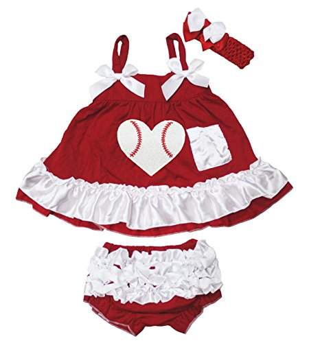 (Baseball Rugby Dress Red White Swing Top Bloomer Pant Set Baby Clothing Nb-24m)