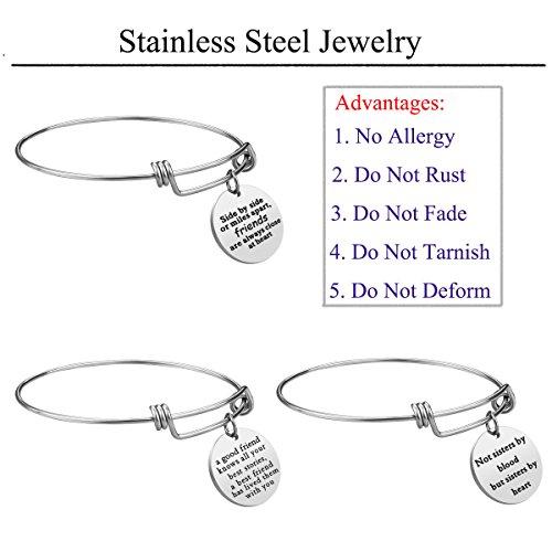 iJuqi Charm Charm Bracelet - 3 PCS Stainless Steel Expendable Inspirational Bangle Bracelets BFF Jewelry Set Graduation Gifts Birthday Gifts (3 Pcs- White) by iJuqi (Image #3)