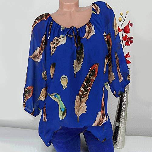 Pas Quarts Top Shirt V Imprim Mode Chemisier Bleu Shirt Trois Lache Chic Tops Tunique Floral Blouse Femmes Vetement Casual EU Femme Col en Femme Cher Femme Tee Shirt Ulanda T 8wpantqYO