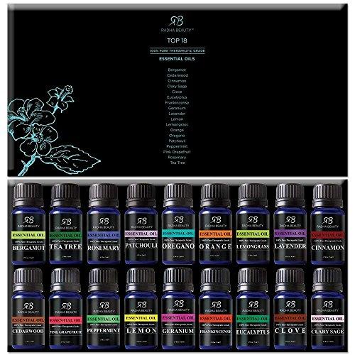 Radha Beauty Aromatherapy 18 Essential Oils (Lavender, Tea Tree, Peppermint, Lemongrass, Orange,...