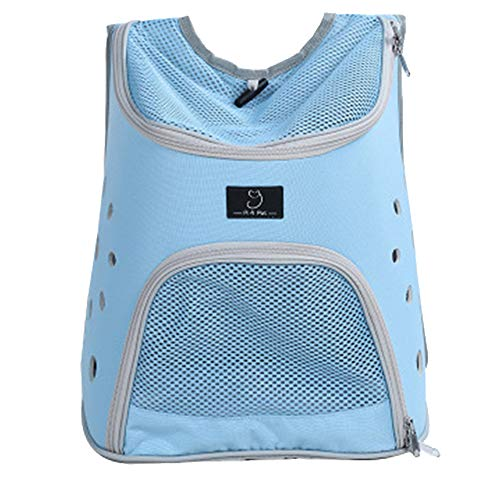 - Pet Backpack, Travel Carrier, Mesh Ventilation, Included Tether,Safety and Soft Cushion Back Support | Collapsible for Travel, Hiking, Outdoor,Blue