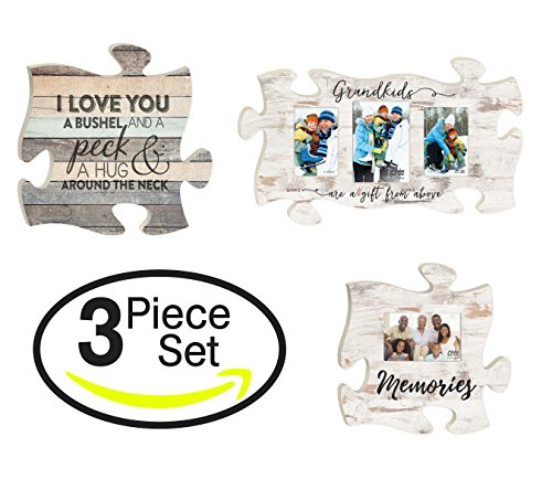 - P. GRAHAM DUNN Grandkids Love a Bushel Peck Memories Puzzle Piece Interlocking Wall Plaque Frames Set of 3