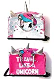 Justice Girls Exclusive Pink Reversible Seqiun Unicorn Carry On Luggage Suitcase Travel Bag