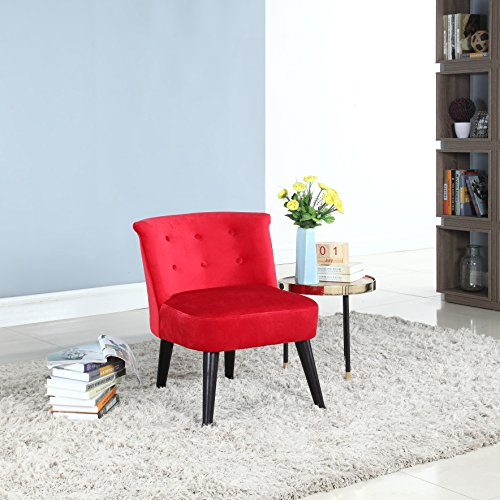 Divano Roma Furniture Classic and Traditional Living Room Velvet Fabric Accent Chair with Tufted Details (Red)