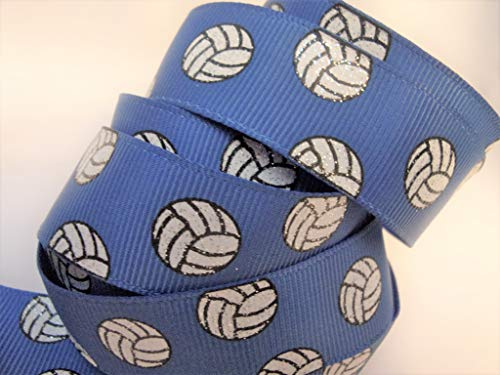 Grosgrain Ribbon - Royal Blue Glitter Volleyball Print - 7/8