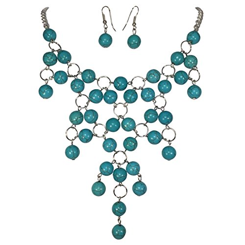 [Silver Tone Simulated Turquoise Bead Drop Western Bib Necklace Earring Set] (Blue Turquoise Red Coral Necklace)